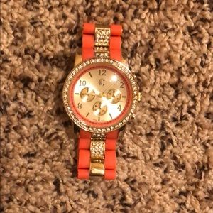 Coral and Gold Watch